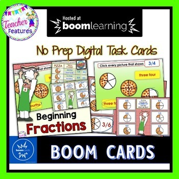 DIGITAL BOOM CARDS MATH Beginning Fractions