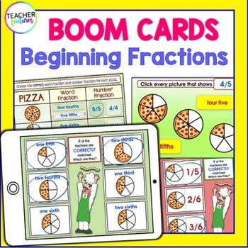 BOOM CARDS MATH   Beginning Fractions   DIGITAL TASK CARDS