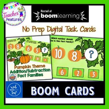 BOOM Cards (Digital Task Cards): Fact Families (1-10) Autumn Pumpkin Theme