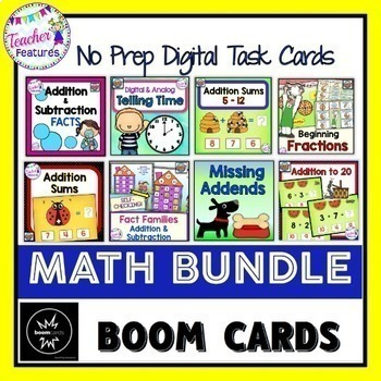 BOOM CARDS MATH | 1st Grade | 2nd Grade | Digital Task Cards Bundle