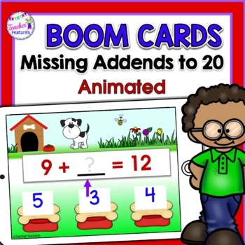 BOOM Cards (Digital Task Cards): Missing Addends: Dog Theme