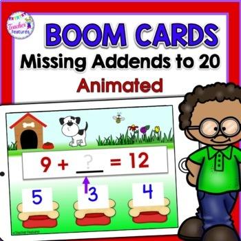 BOOM CARDS MATH   MISSING ADDENDS 1st Grade & 2nd Grade