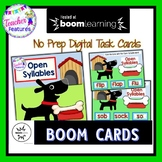 BOOM CARDS READING and ELA Open Syllables Dog Theme