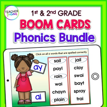 BOOM CARDS ELA | PHONICS | Digital Task Cards | First Grade BUNDLE