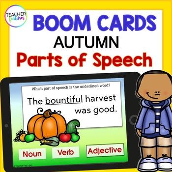 BOOM CARDS FALL WORD WORK & GRAMMAR PARTS OF SPEECH