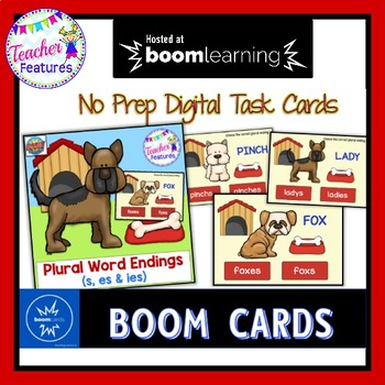 DIGITAL BOOM CARDS ELA and GRAMMAR Plural Endings- s, es, & ies