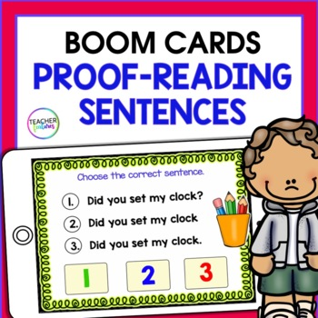DIGITAL BOOM CARDS READING & ELA Proof-reading Sentences