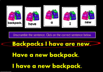 Digital Boom Cards SCRAMBLED SENTENCES for Back to School