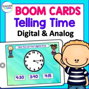 BOOM Cards (Digital Task Cards): Telling Time- Digital & Analog