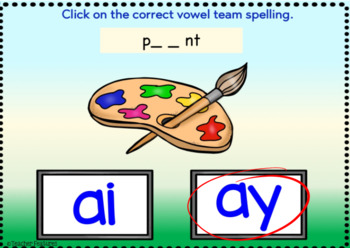 BOOM Cards (Digital Task Cards):  Vowel Teams: AI & AY