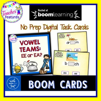 BOOM Cards (Digital Task Cards):  Vowel Teams: EA or EE?