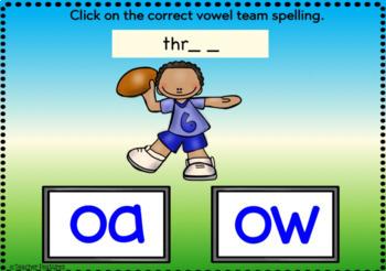BOOM CARDS PHONICS Vowel Teams OA & OW Digital Task Cards