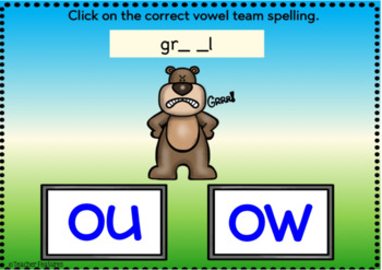 BOOM CARDS PHONICS Vowel Teams: OU & OW Digital Task Cards