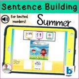 BOOM Cards | Digital Speech Therapy | Sentence Building | Summer
