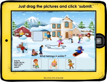 BOOM Cards Distance Learning   FREE   Speech Therapy   What Belongs Winter