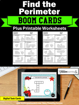 BOOM Cards Digital Task Cards Math Perimeter Activity 3rd Grade Math Review