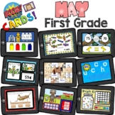 BOOM Cards - First Grade May Growing Bundle - Distant Learning