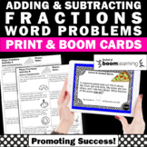 BOOM Cards Math Fraction Word Problems Task Cards 4th Grade Math Pizza Theme