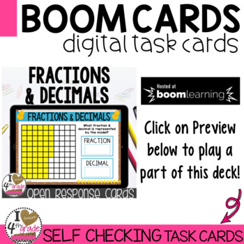 Distance Learning BOOM Cards Fractions and Decimals