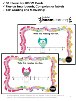 BOOM Cards Math, Fractions on a Number Line Digital Task Cards Google Classroom