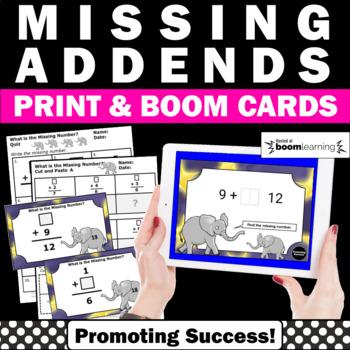 BOOM Cards Math Missing Addends Worksheets & Digital Task Cards Google Classroom