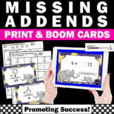 BOOM Cards Math Missing Addends Worksheets & Digital Task