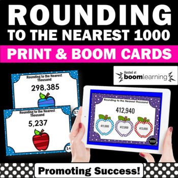 BOOM Cards Math Rounding to the Nearest 1000 4th Grade Math Digital Task Cards