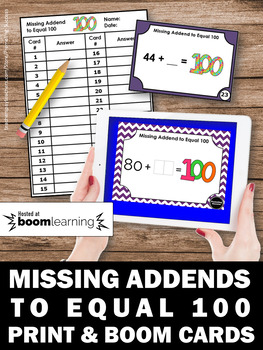 BOOM Cards Missing Addends to Equal 100 Math Digital Task Cards Google Classroom