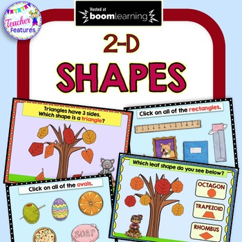 BOOM Cards Paperless Digital Task Cards ATTRIBUTES OF 2-D SHAPES