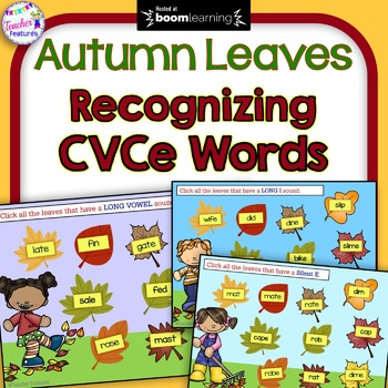 BOOM Cards Paperless Digital Task Cards CVCe Words AUTUMN LEAVES
