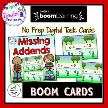 BOOM Cards Paperless Digital Task Cards MISSING ADDENDS FALL APPLE THEME