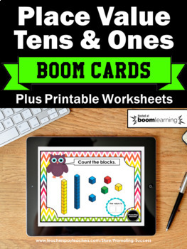 BOOM Cards Math 1st Grade Place Value Tens and Ones Task Cards