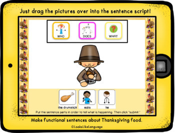 BOOM Cards | Sentence Building | Thanksgiving |  Speech Teletherapy