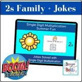 BOOM Cards Single Digit Multiplication Math Jokes (2 Family)
