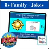BOOM Cards Single Digit Multiplication Math Jokes (8 Family)