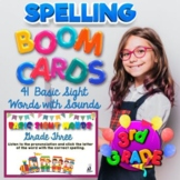 BOOM Cards Spelling Practice, 41 Words with Audio, 3rd Gra