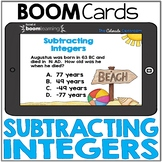 Subtracting Integers | BOOM Cards | Distance Learning