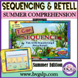 BOOM Cards Summer Comprehension   Sequencing & Story Retel