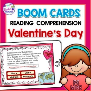 BOOM Cards Valentine's Day Reading Comprehension Fun Facts