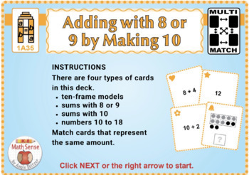 Adding with 8 or 9 by Making 10: BOOM Digital Game Cards 1A
