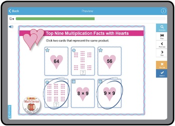 BOOM Digital Game Cards 3A: Top Nine Multiplication Facts with Hearts