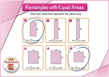 Rectangles with Equal Areas: BOOM Digital Game Cards 4M17