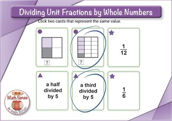 Dividing Unit Fractions by Whole Numbers: BOOM Digital Game Cards 5F