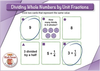 Dividing Whole Numbers by Unit Fractions: BOOM Digital Task Cards 5F27