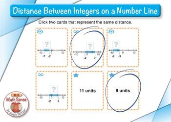 Distance Between Integers on a Number Line: BOOM Digital Game Cards 7N