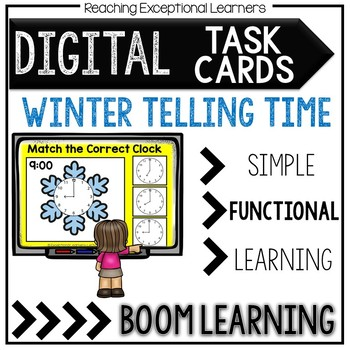 Digital Task Cards: Winter Themed Time to the Hour