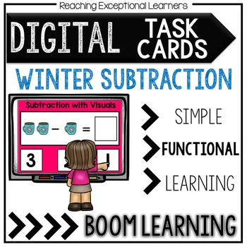 Digital Task Cards: Winter Visual Subtraction