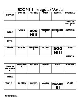 BOOM !- Irregular verbs