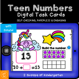 BOOM cards Building Teen Number Digital Task cards Distance Learning