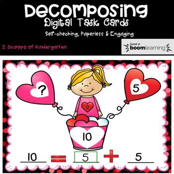 BOOM cards Decomposing Valentine w/Number Bonds to 10